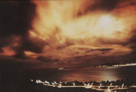 The view of the Starfish Nuclear Detonation in sky, 1300 km away from the explosion point  (July, 1962)